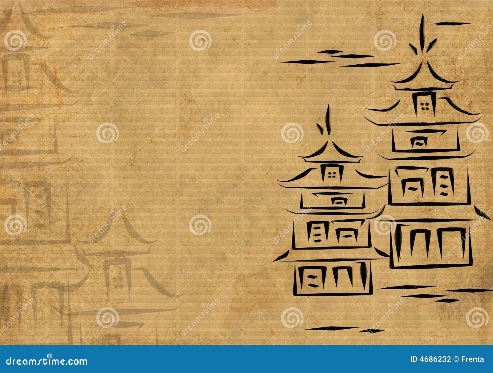 Casas japonesas, drenadas por la tinta en un papel de arroz