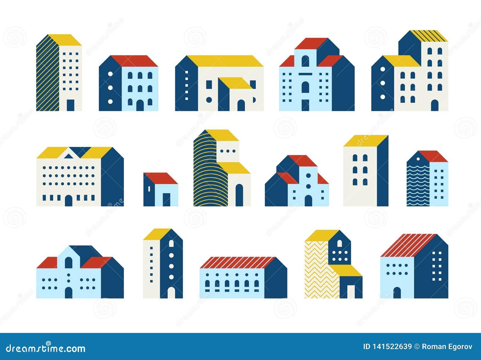 Casas lisas mínimas Grupo geométrico simples dos desenhos animados das construções, gráfico urbano das casas de cidade da cidade