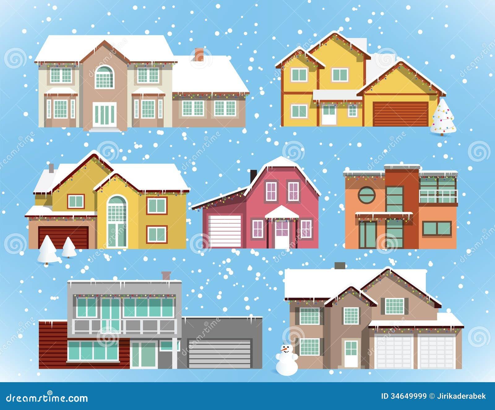 Casas nevadas de la ciudad la navidad im genes de - La casa de la navidad ...