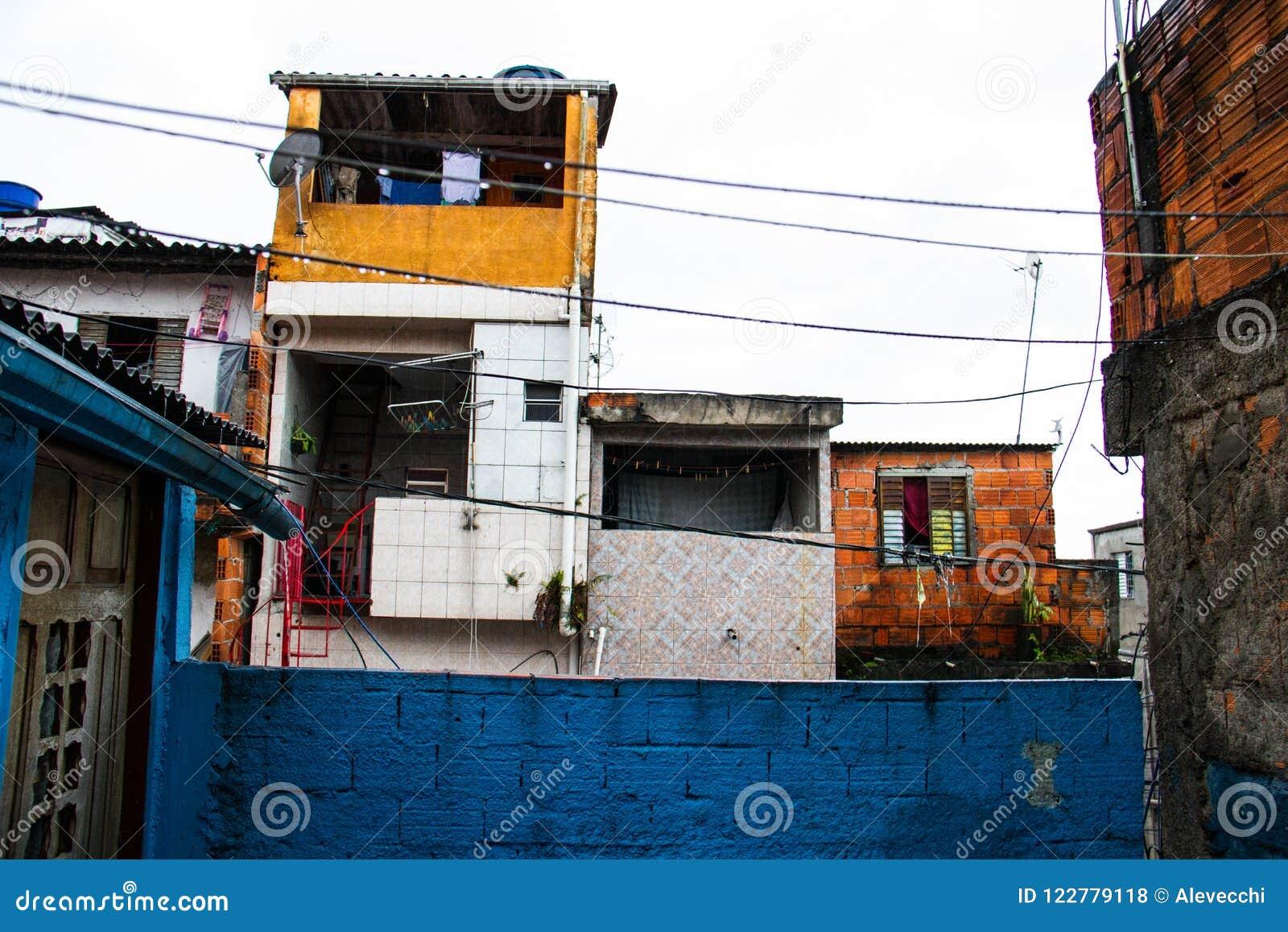 Casas Pobres De Una Ciudad De Chabola En El Brasil De Una