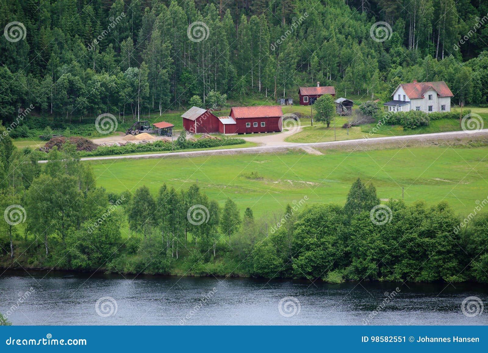 Casas suecos perto de Branaes em Vaermland, Suécia O rio Klaraelven pode ser visto