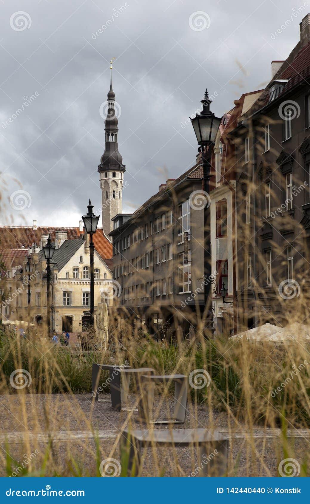 Casas viejas en las calles viejas de la ciudad tallinn Estonia