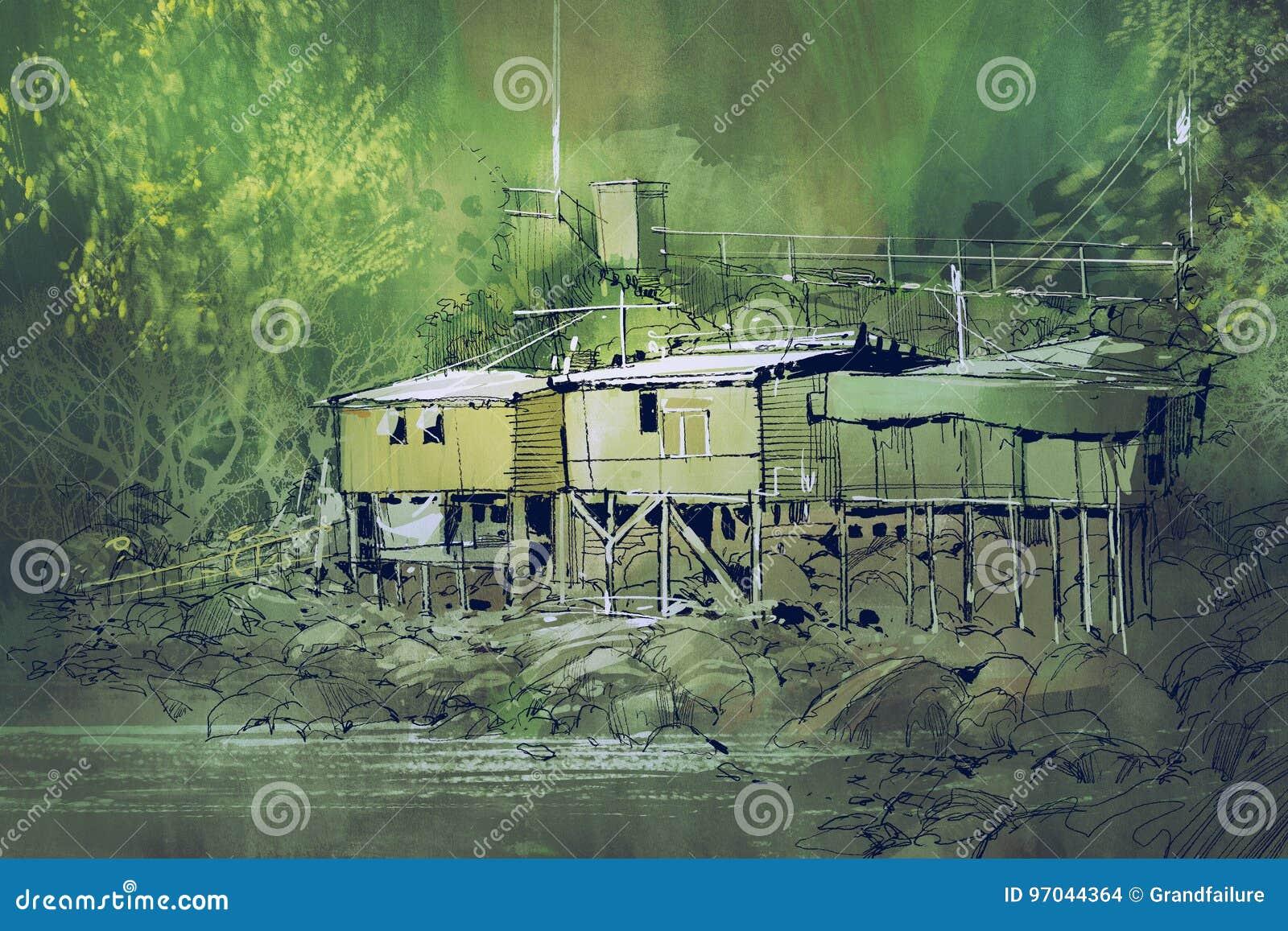 Casas viejas entre la naturaleza en campo