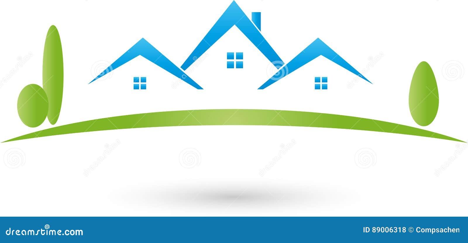 Casas y logotipo del prado, del agente inmobiliario y de las propiedades inmobiliarias