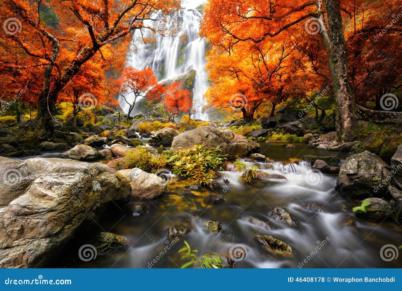 Cascada en el otoño