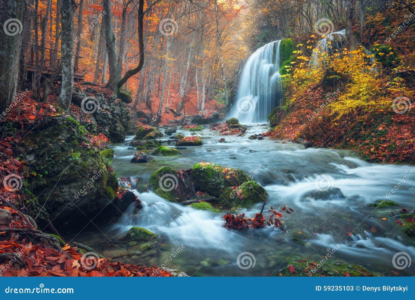 Download Cascada Hermosa En Bosque Del Otoño En Montañas Crimeas En El Sol Imagen de archivo - Imagen de color, planta: 59235103