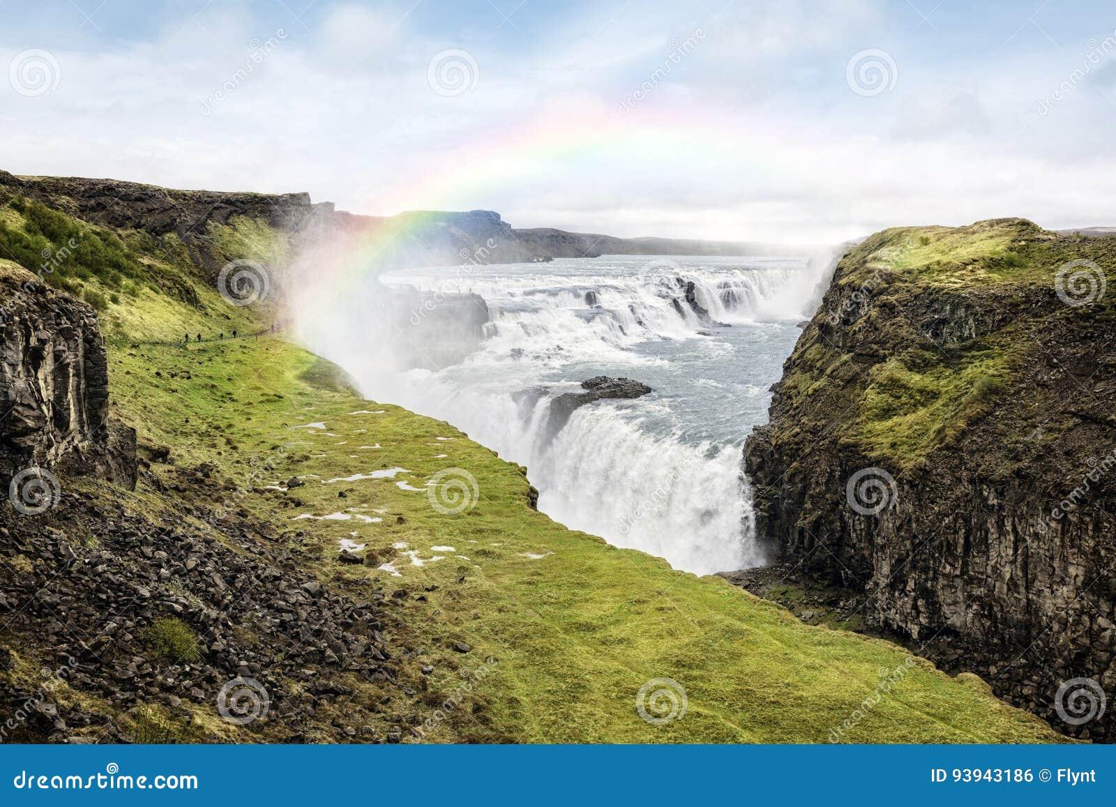 Cascade à écriture ligne par ligne de Gullfoss en Islande