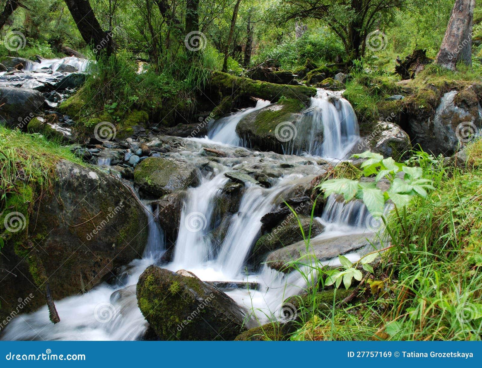 Cascade à écriture ligne par ligne, fleuve de montagne