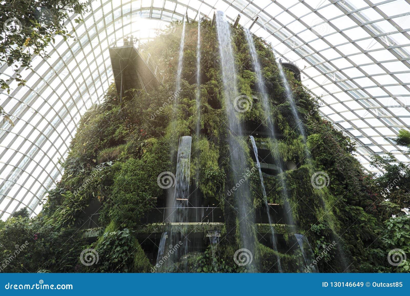 Cascade à L Intérieur Du Nuage Forest Dome Gardens Par La Baie à Singapour