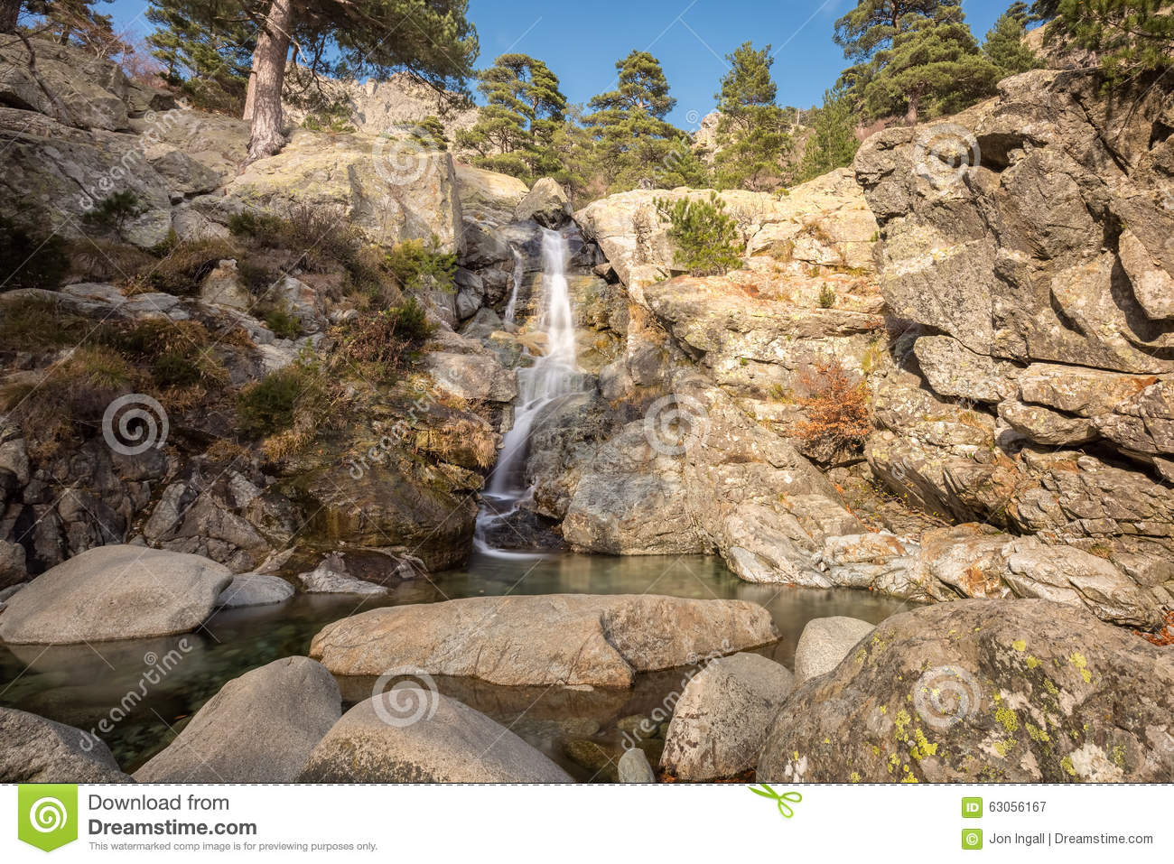 Cascade des anglais waterfall near vizzavona in corsica stock photo image 63056167 - Crystal pools waterfall ...