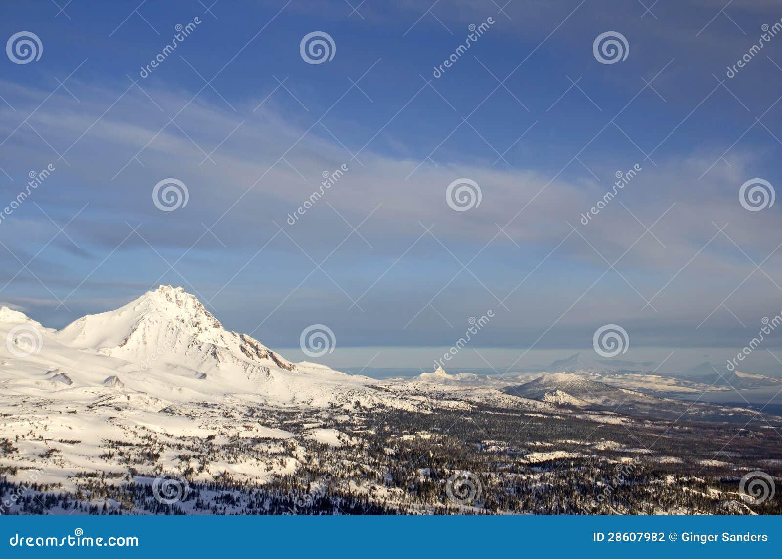 Cascade Mountain Range Winter Aerial