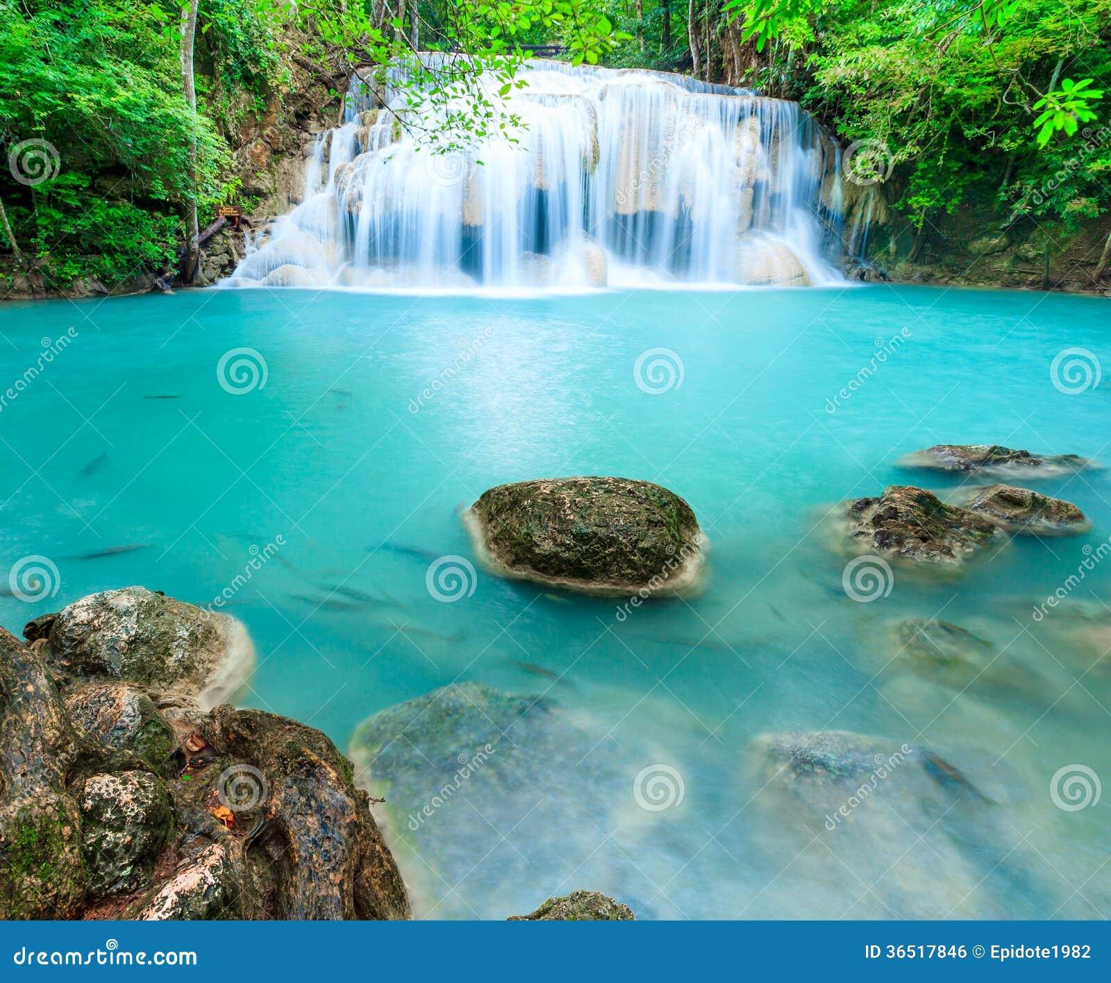 Cascade profonde de forêt au parc national Kanjanab de cascade d Erawan