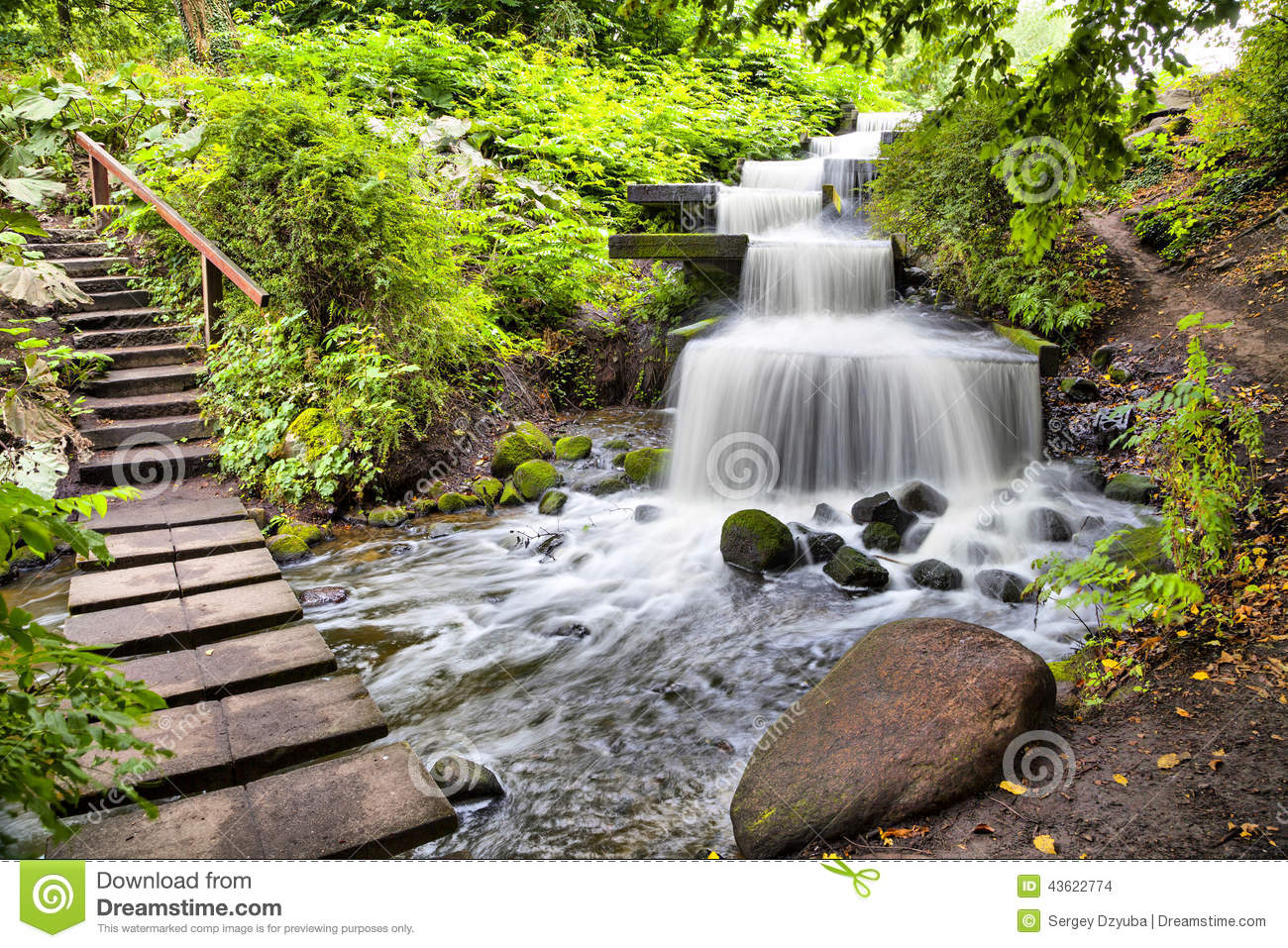 cascade waterfall in planten un blomen park in hamburg stock photo image of cascade town. Black Bedroom Furniture Sets. Home Design Ideas