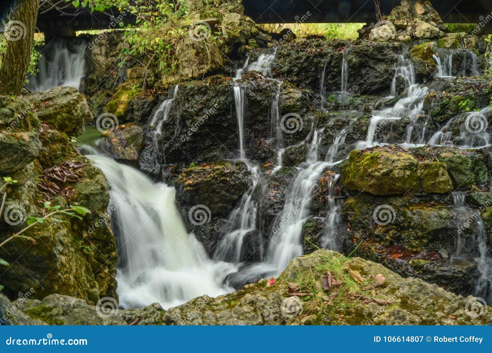 Cascading Water in a Rocky Stream