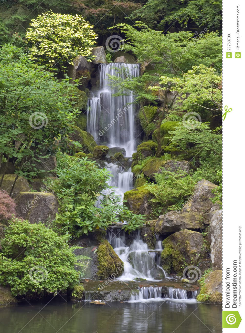 Cascading Waterfall In Japanese Garden In Portland Stock