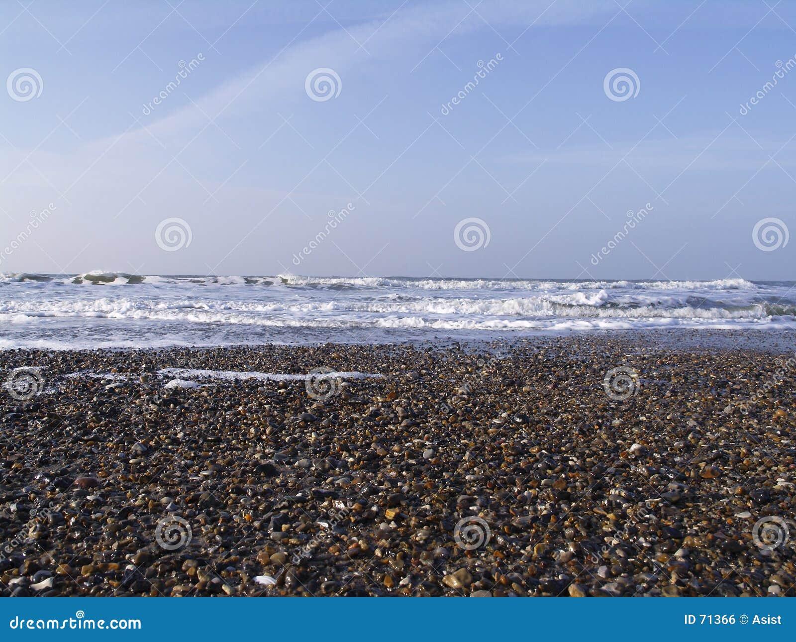 Cascalho na praia