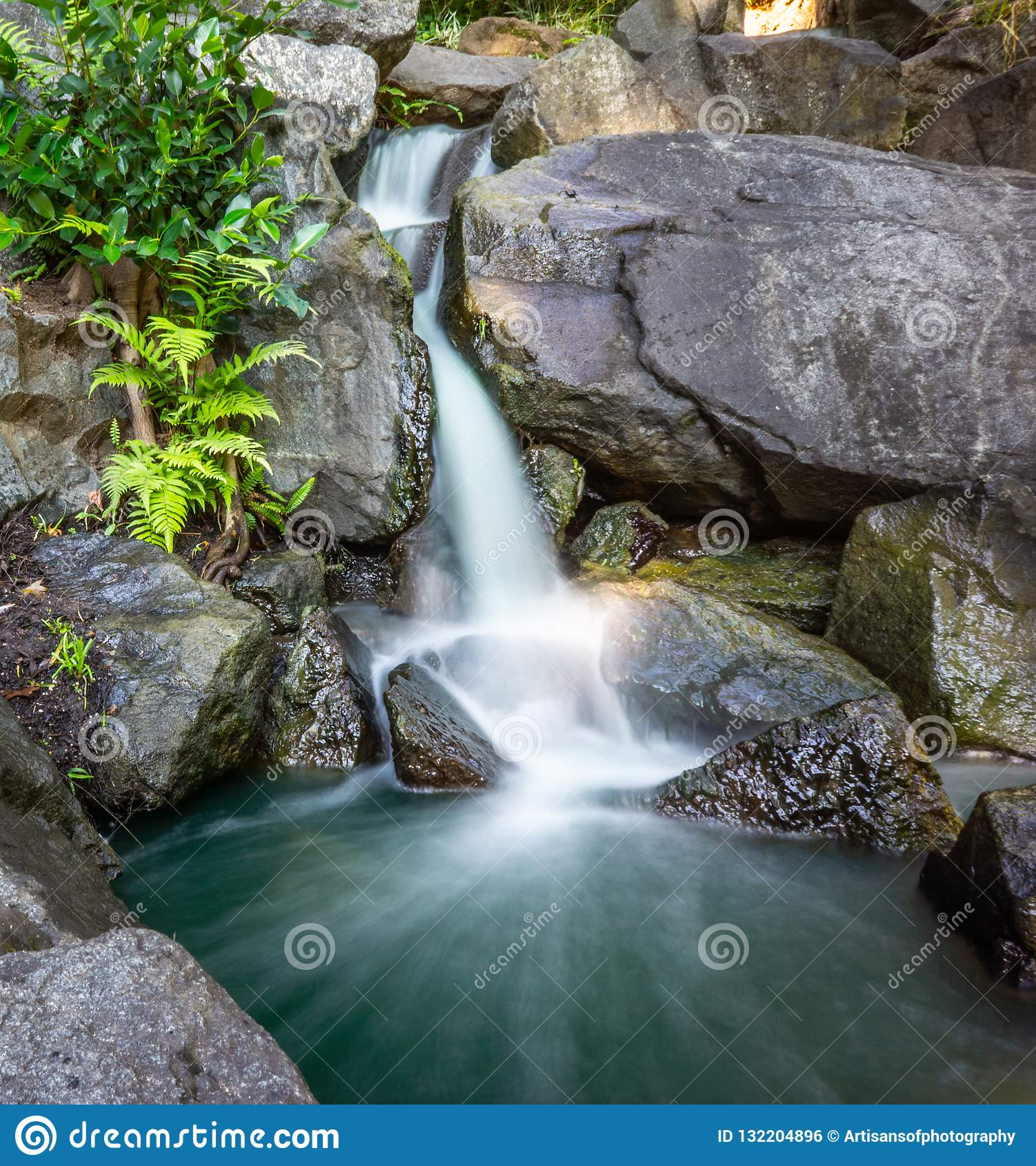 Cascata nel più forrest e nelle rocce