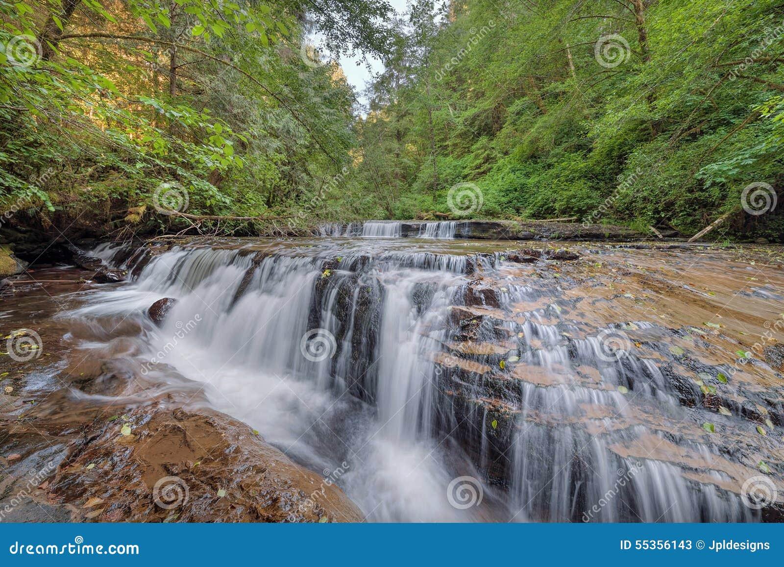 Cascata precipitante a cascata a file sopra il bordo alla traccia dolce di cadute dell insenatura