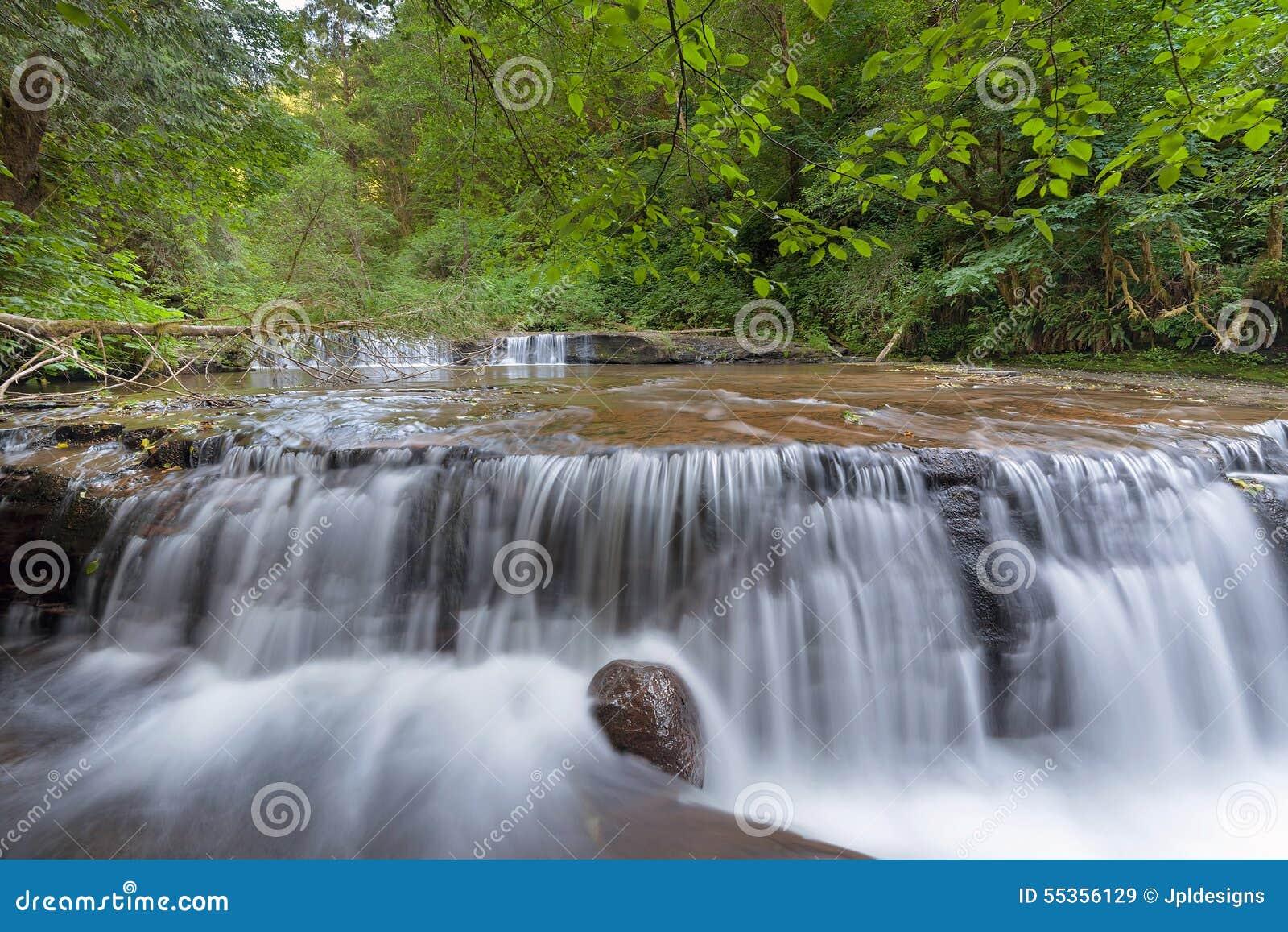 Cascata precipitante a cascata sopra il bordo alla traccia dolce di cadute dell insenatura
