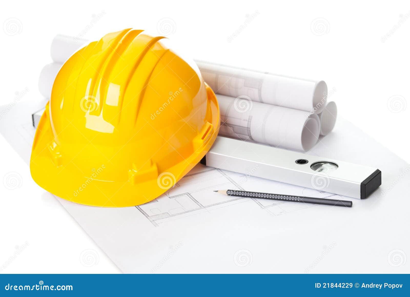 9a18f14d7 Casco Amarillo En Plan De La Construcción Del Proyecto De La Casa ...