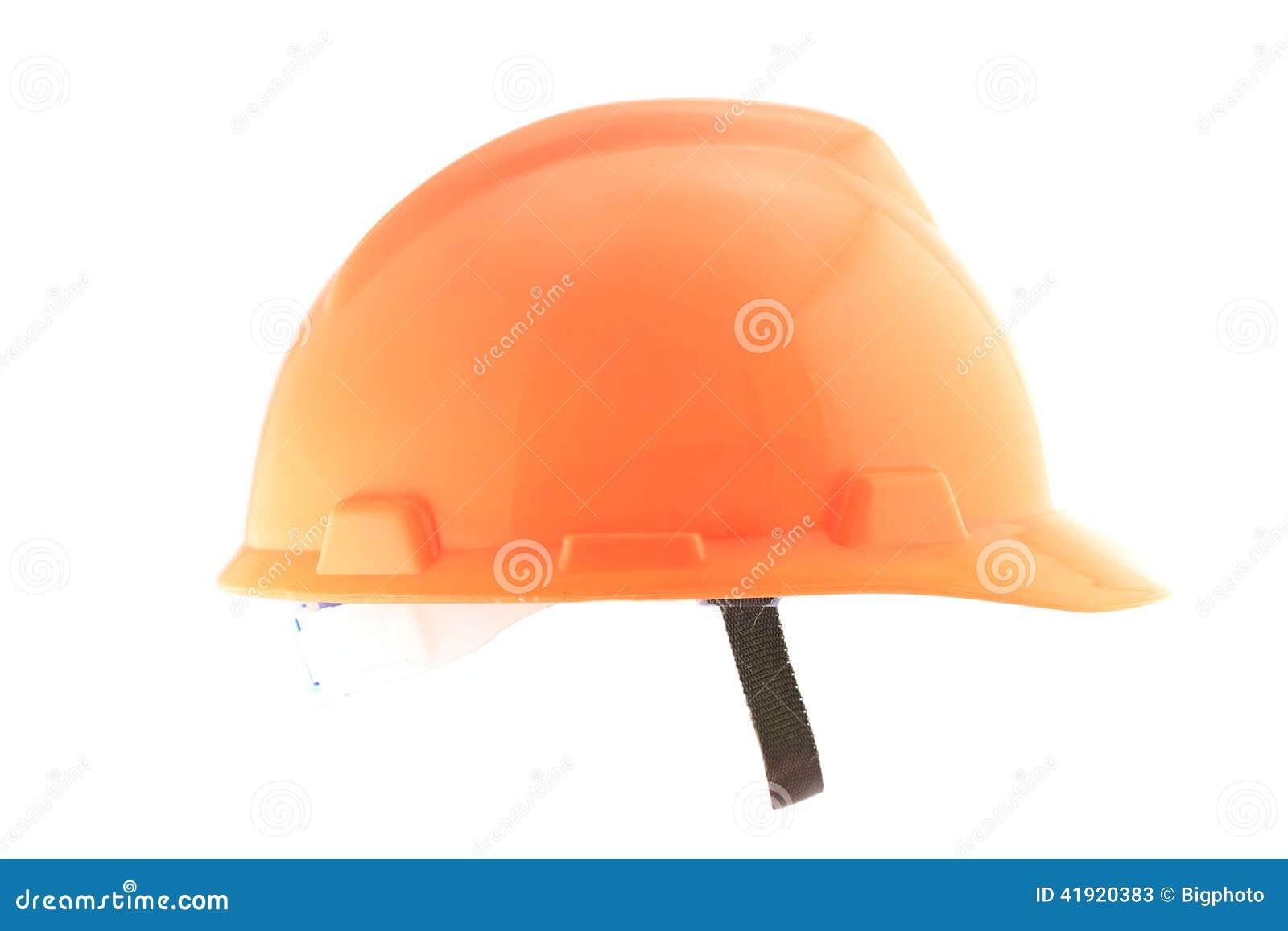 Casco anaranjado aislado en blanco
