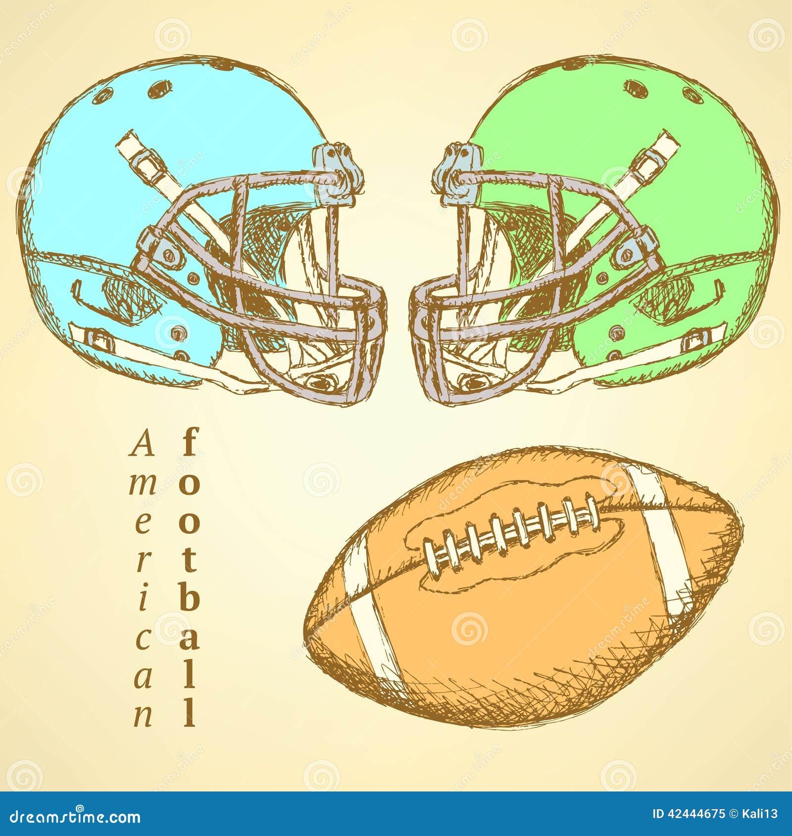 Casco del bosquejo y bola del fútbol americano