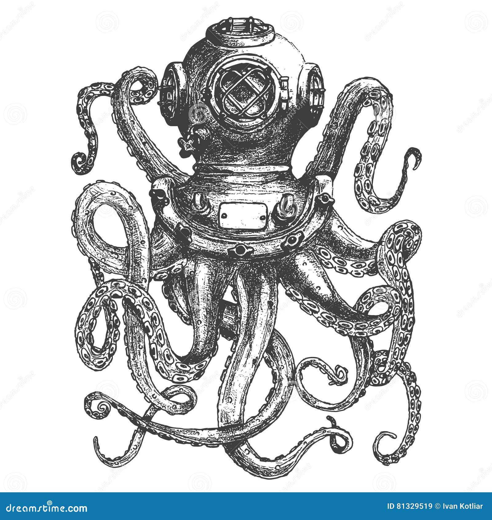 Casco del buceador del estilo del vintage con tentáculos del pulpo