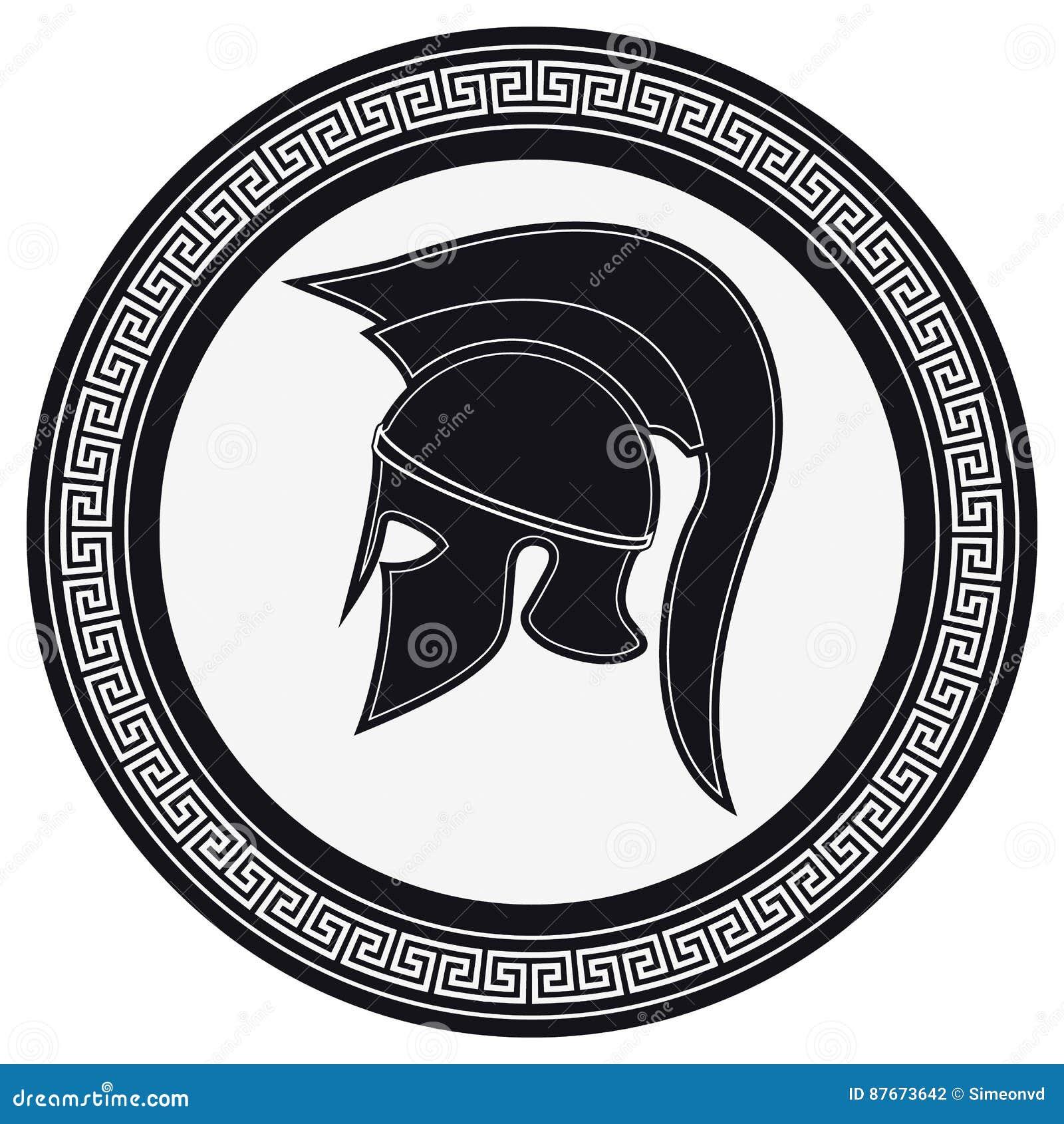 Casco del greco antico con una cresta sullo schermo su un Backg bianco