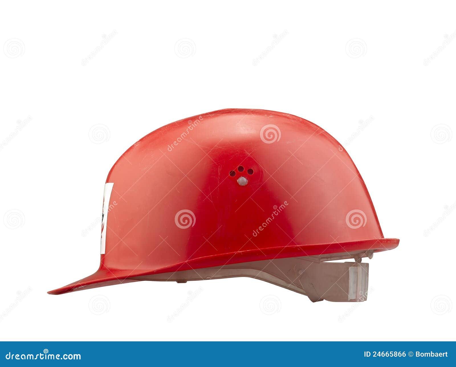 Casco de seguridad plástico rojo en el fondo blanco (camino de recortes) 5f074e069290