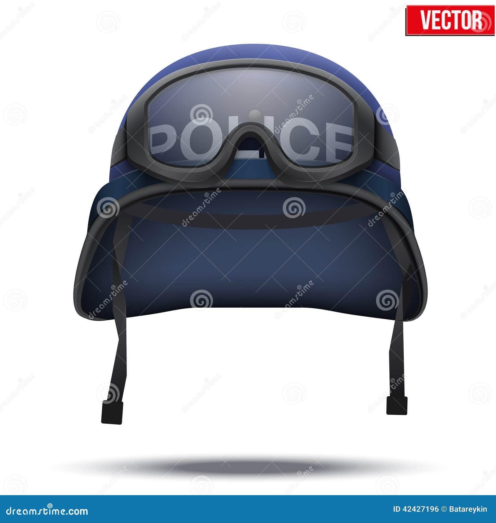 Cascos y máscara azules de la policía Ilustración del vector