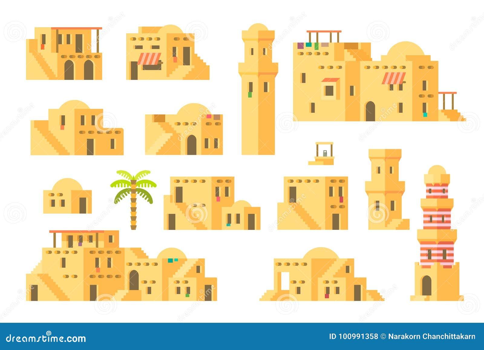 Case arabe del fango di progettazione piana