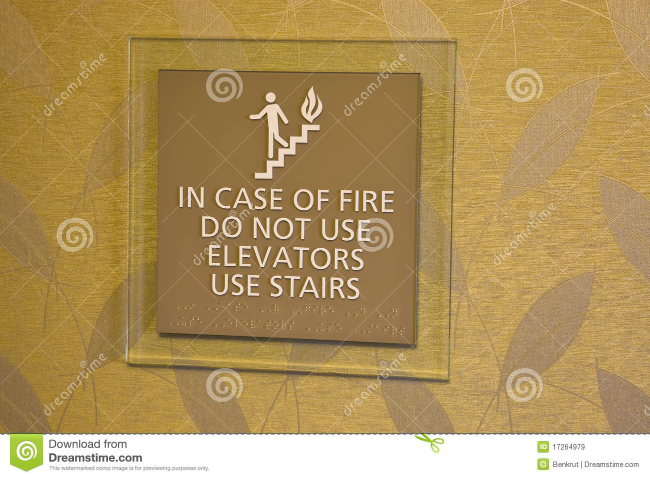 In Case Of Fire Don T Use Elevator Royalty Free Stock