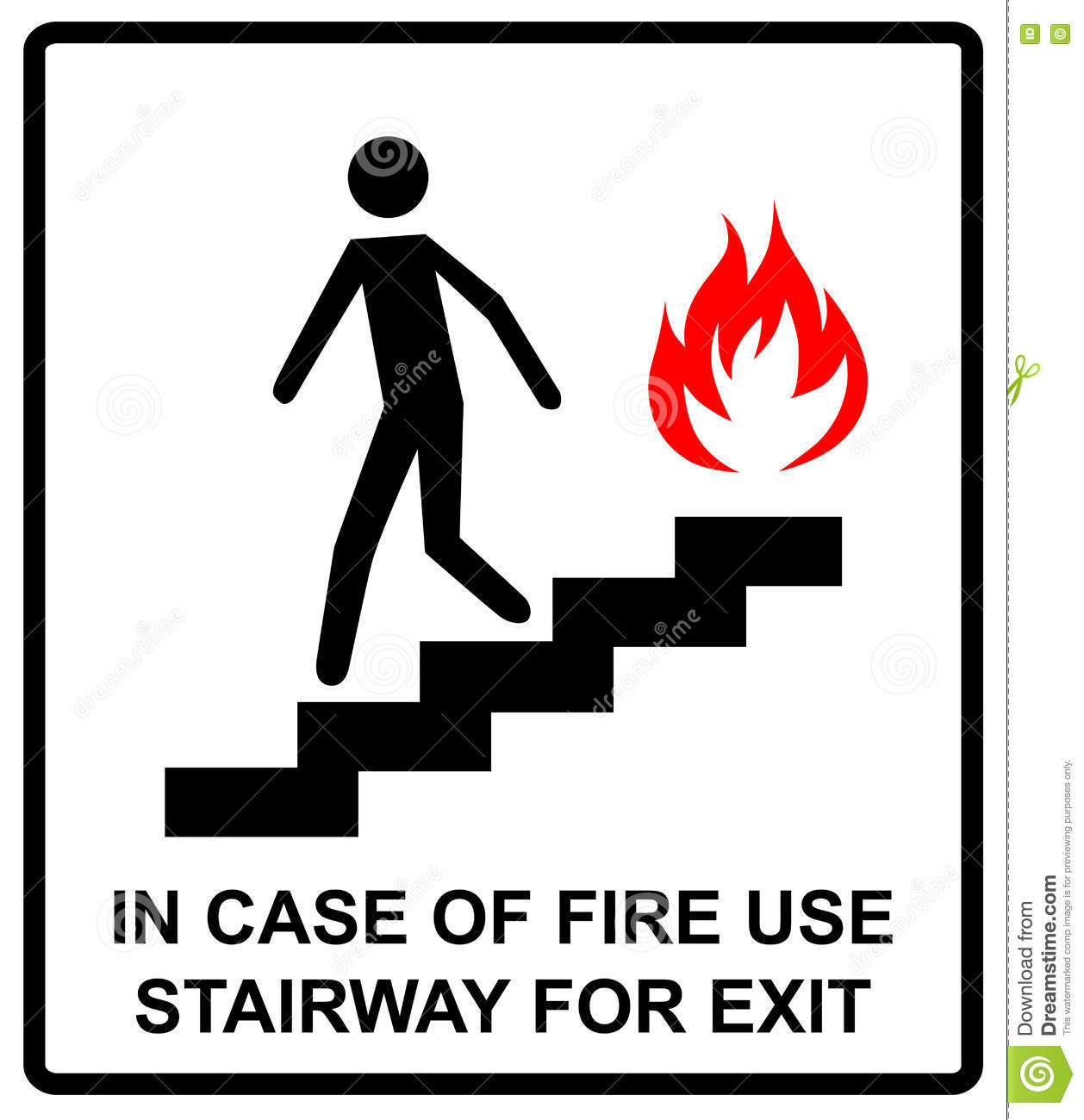 In case of fire use stairway for exit sign vector symbol stock in case of fire use stairway for exit sign vector symbol buycottarizona Images