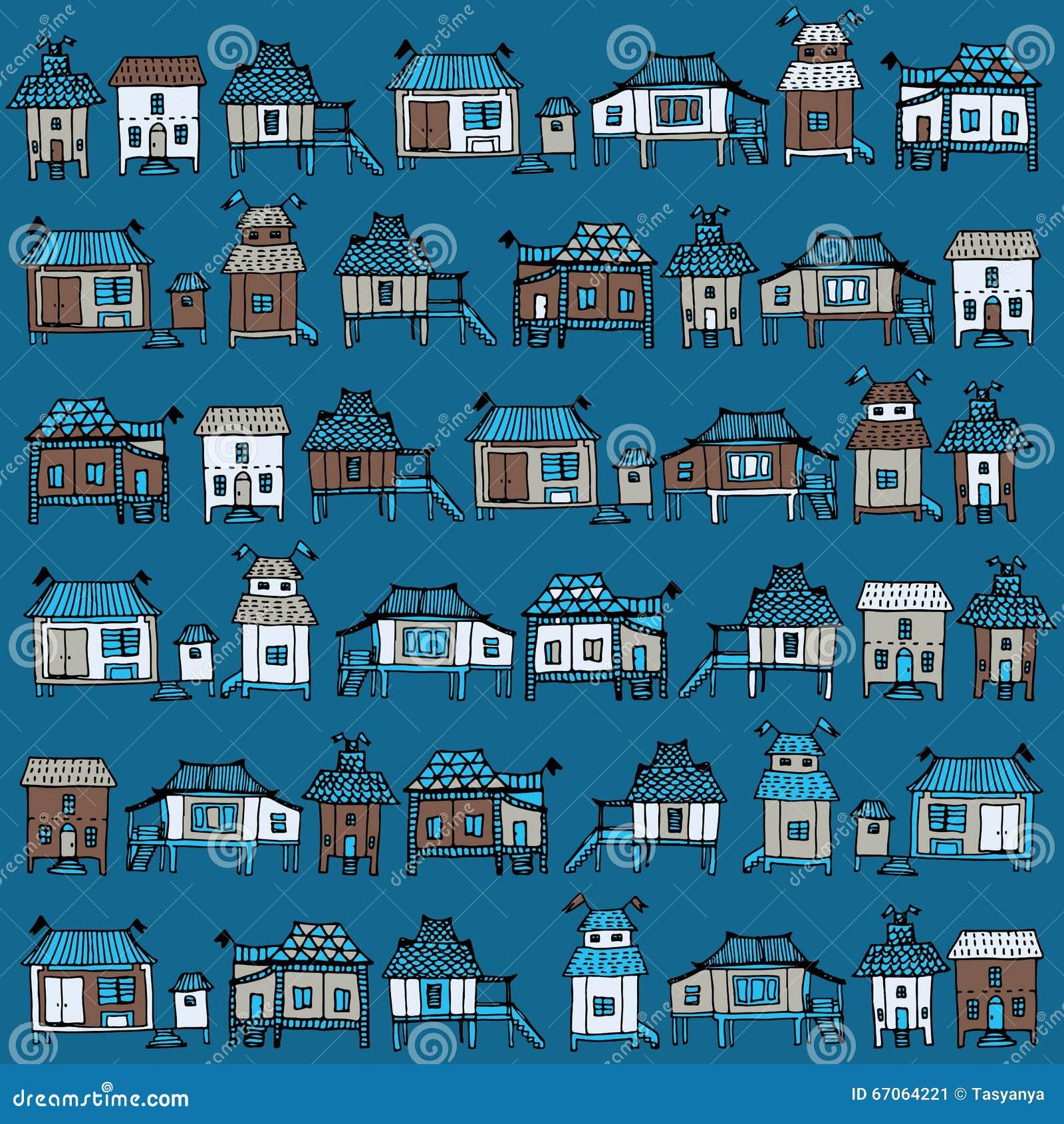 Case giapponesi disegnate a mano illustrazione vettoriale for Foto case giapponesi
