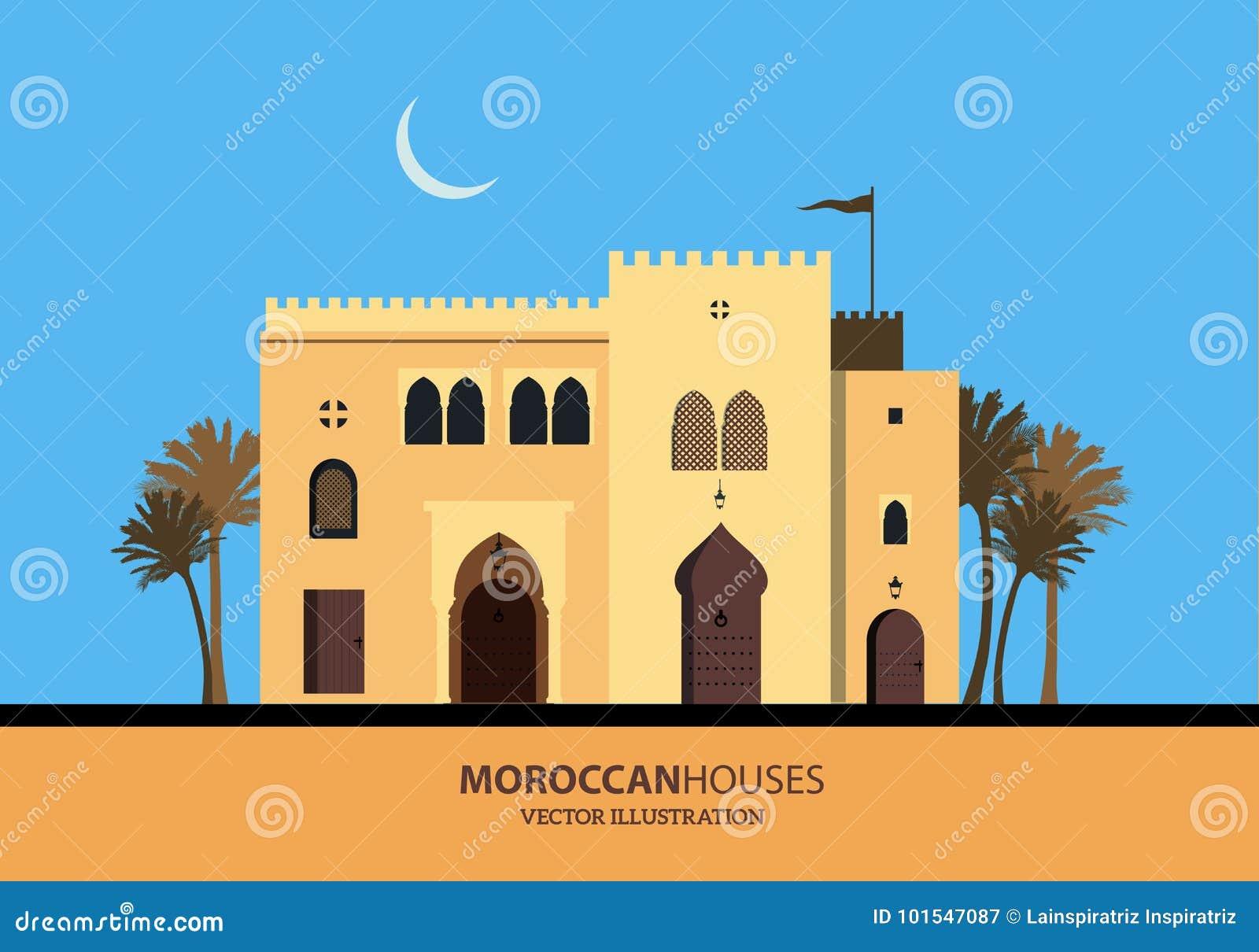 Case marocchine o arabe mediterranee di stile messe illustrazione