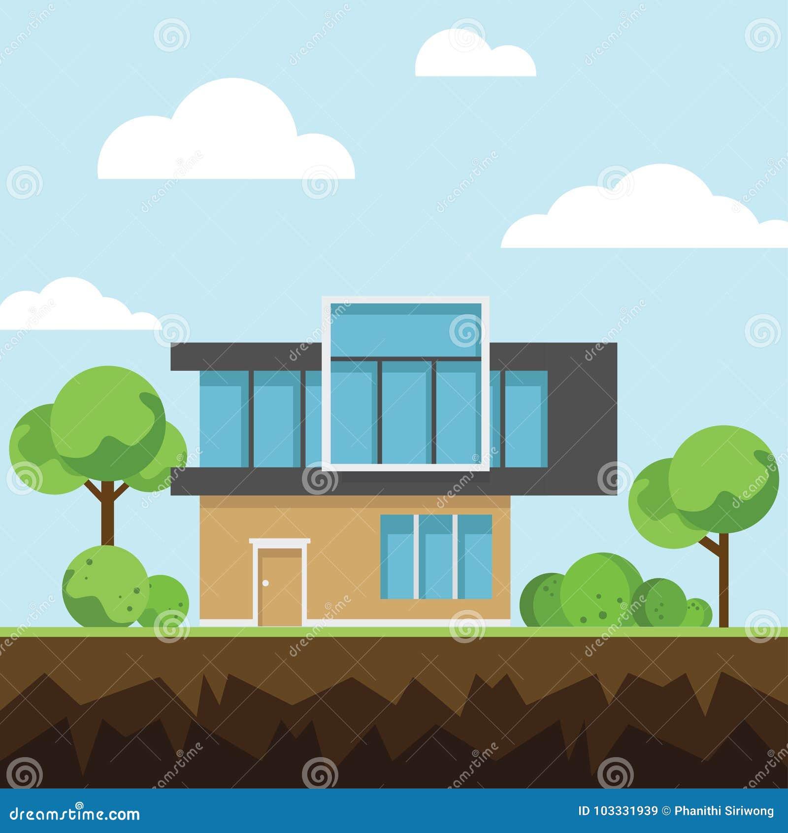 Case moderne con l 39 albero e nuvole sulla terra sulla for Architettura moderna case