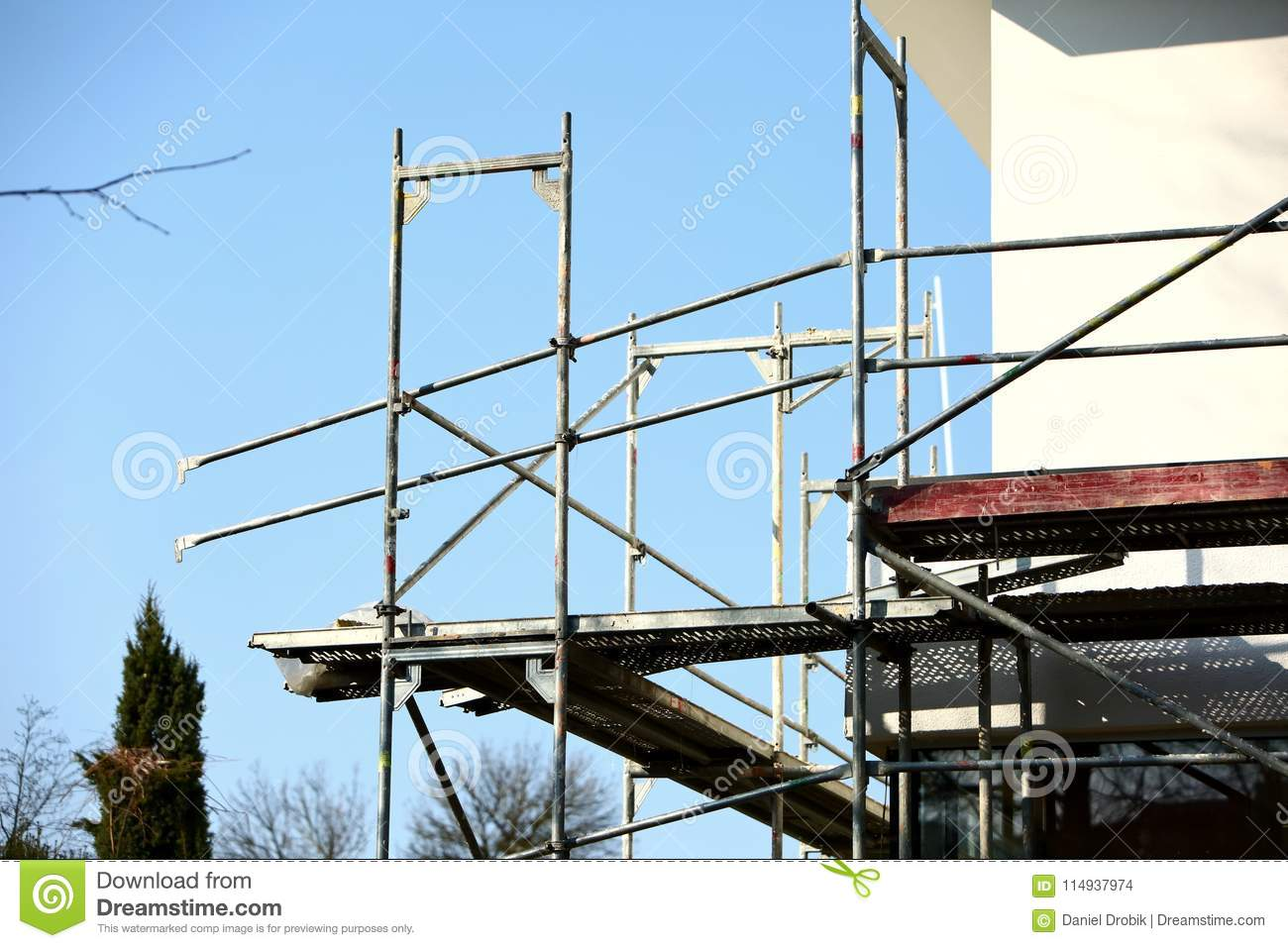 Steel scaffolding used for façade renovation works.