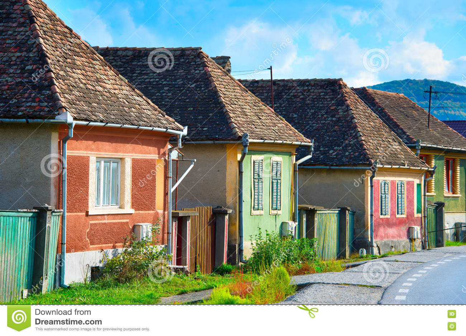 case tradizionali della transilvania fotografia stock