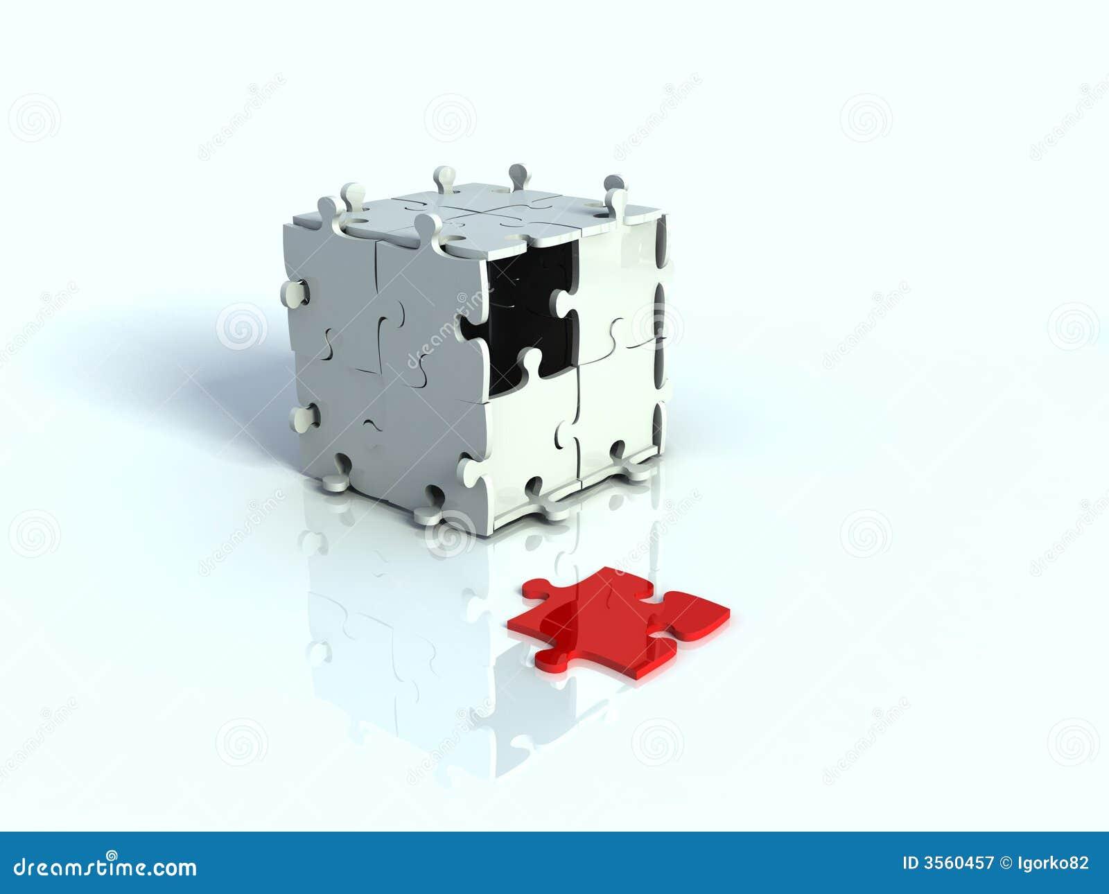 Casella 3d di puzzle