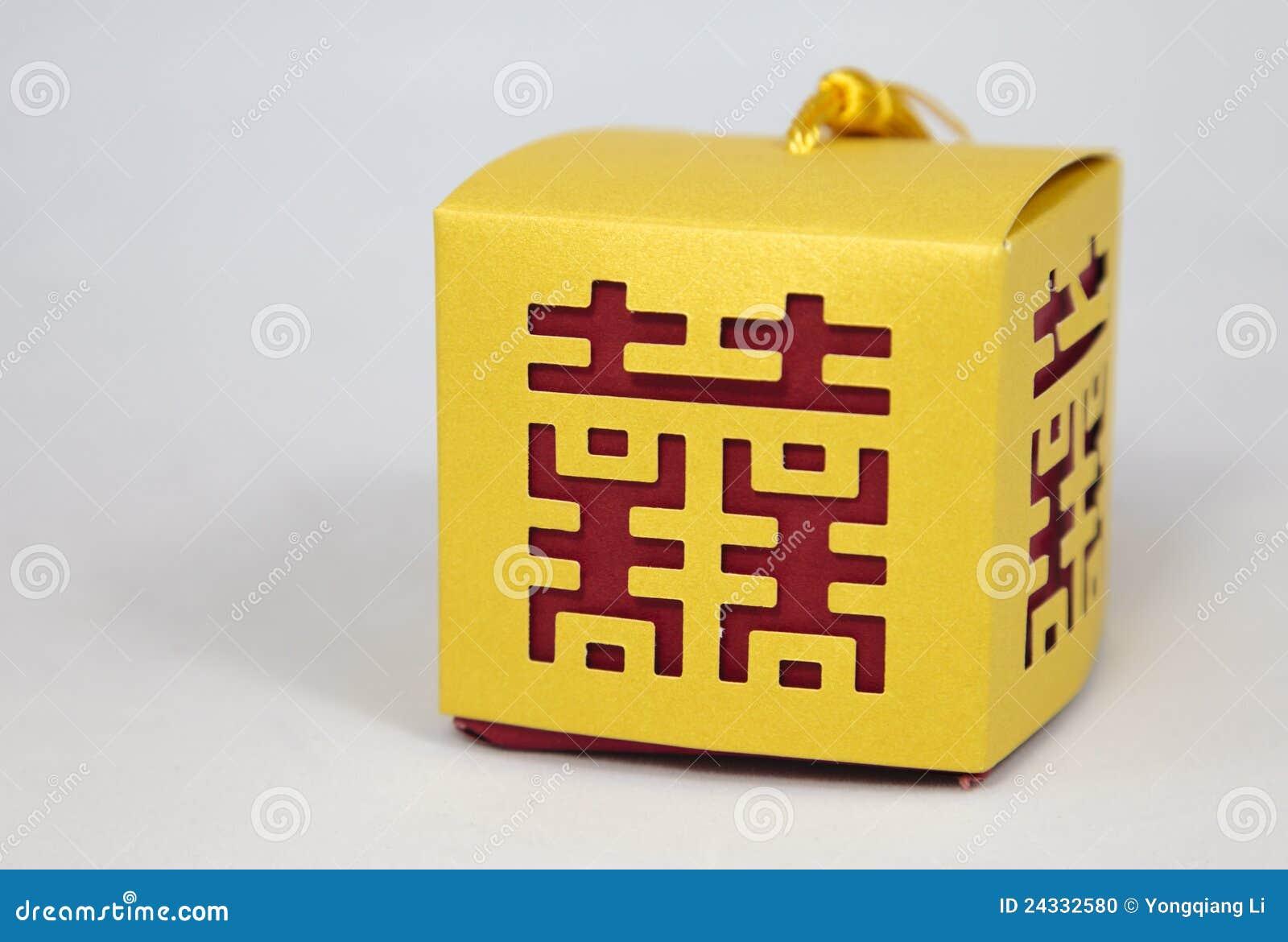 Caselle con il simbolo cinese di felicità di unione