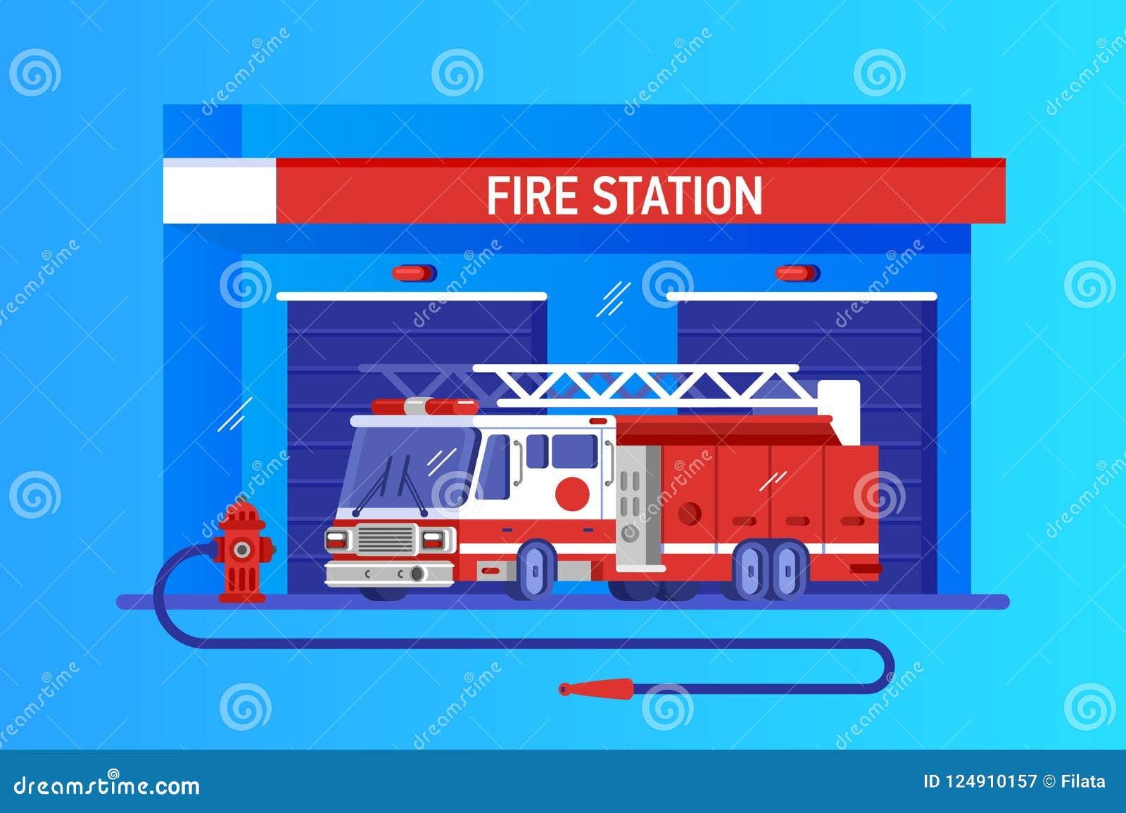 Caserne de pompiers avec le camion Service rapide de réponse