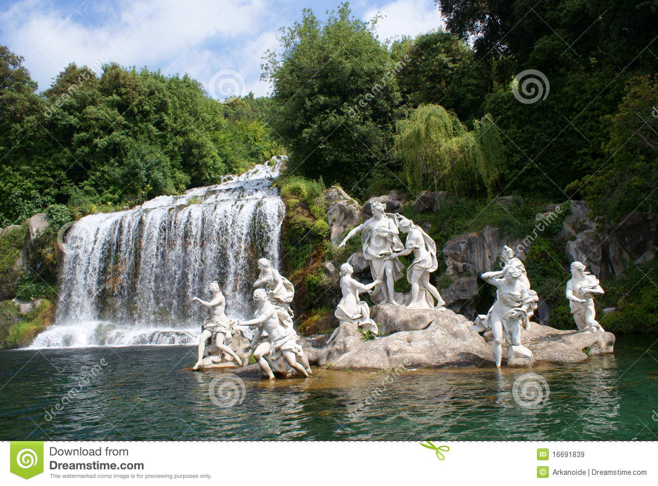 Caserta Royal Palace, Statue in Great Waterfall