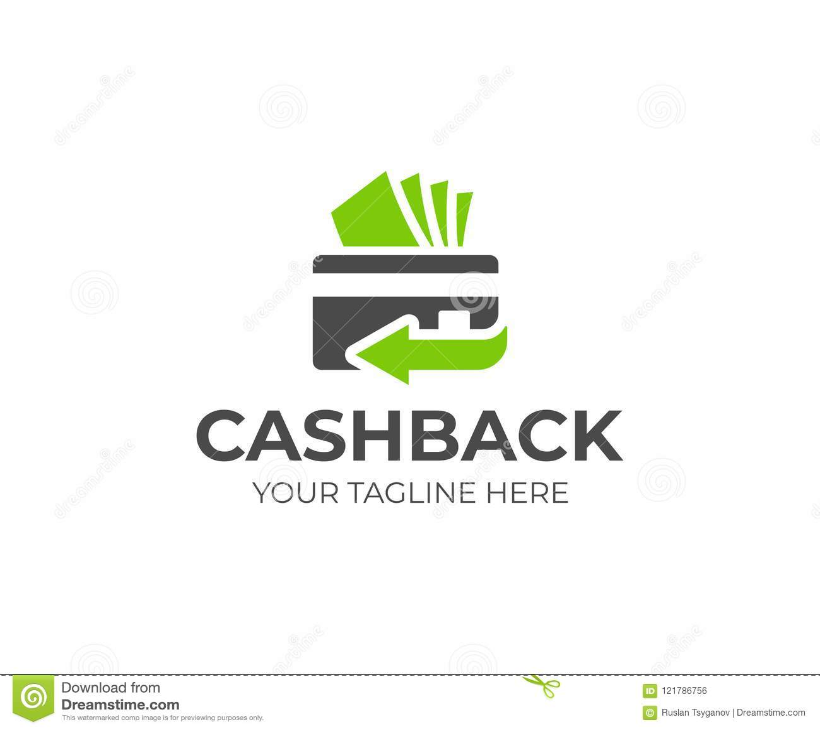 Cash back service logo template. Credit card and money vector design