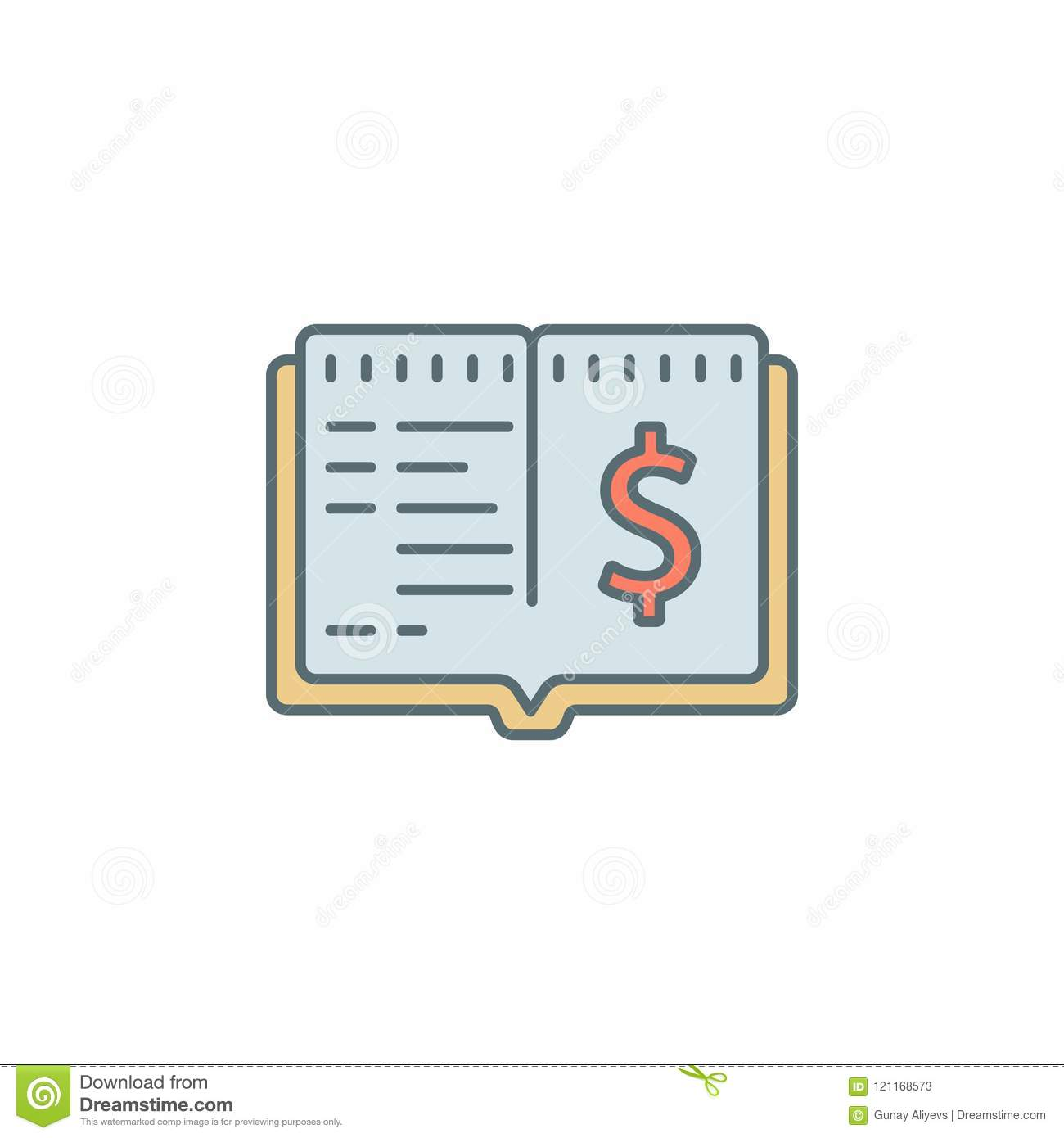 Cash Book Dusk Style Line Icon  Element Of Banking Icon For Mobile