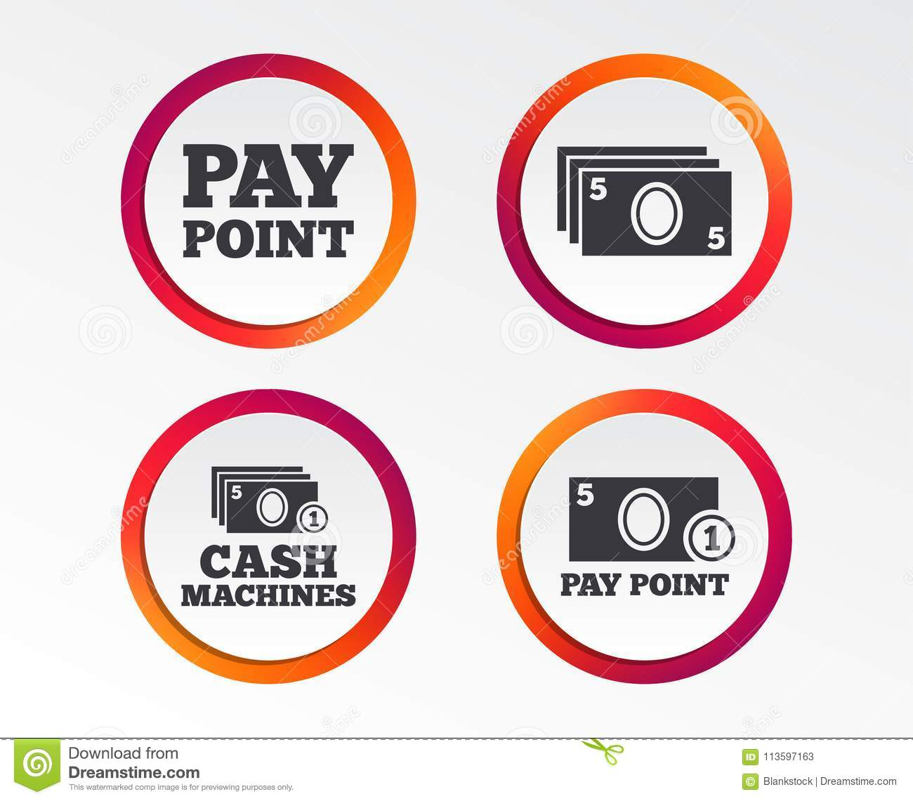Cash And Coin Icons  Money Machines Or ATM  Stock Vector