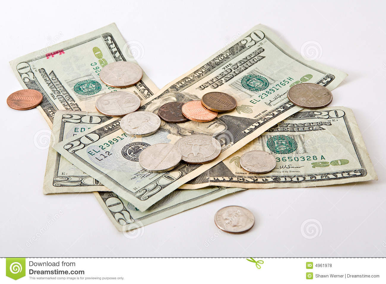 Cash and coins stock photo. Image of pennies, bill ...