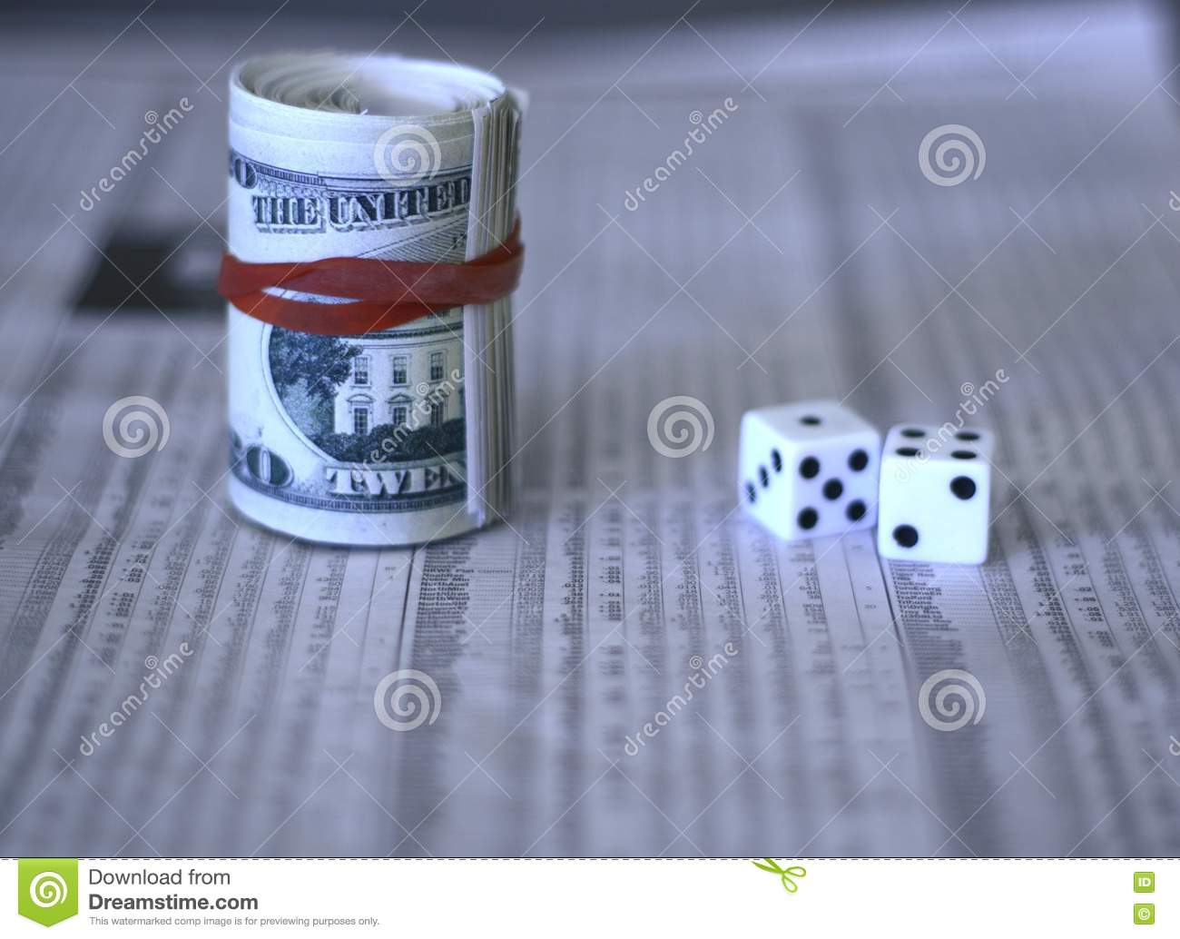 Cash dice and the share market