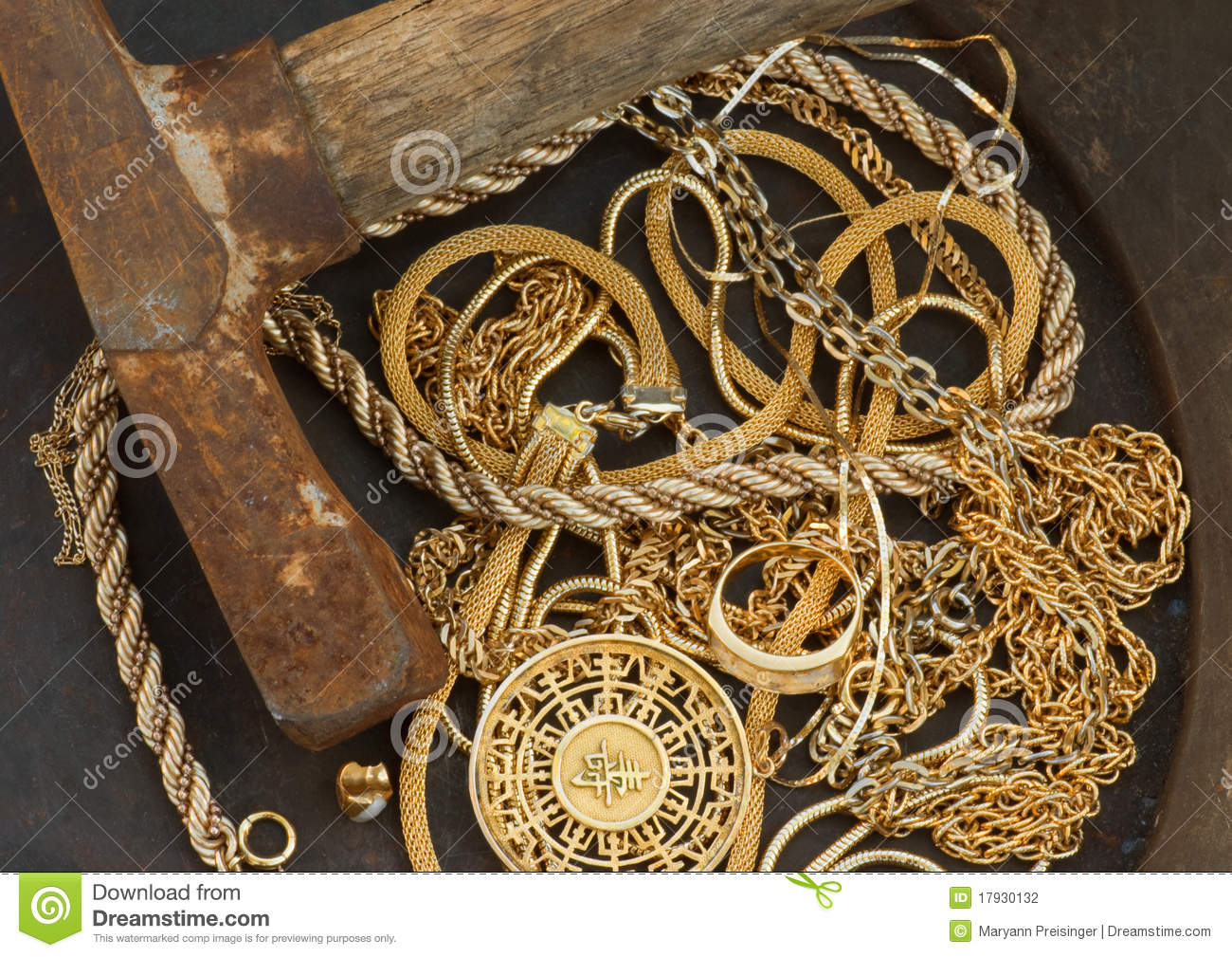 Cash For Gold Scrap Jewelry In Pan With Pick Axe Stock
