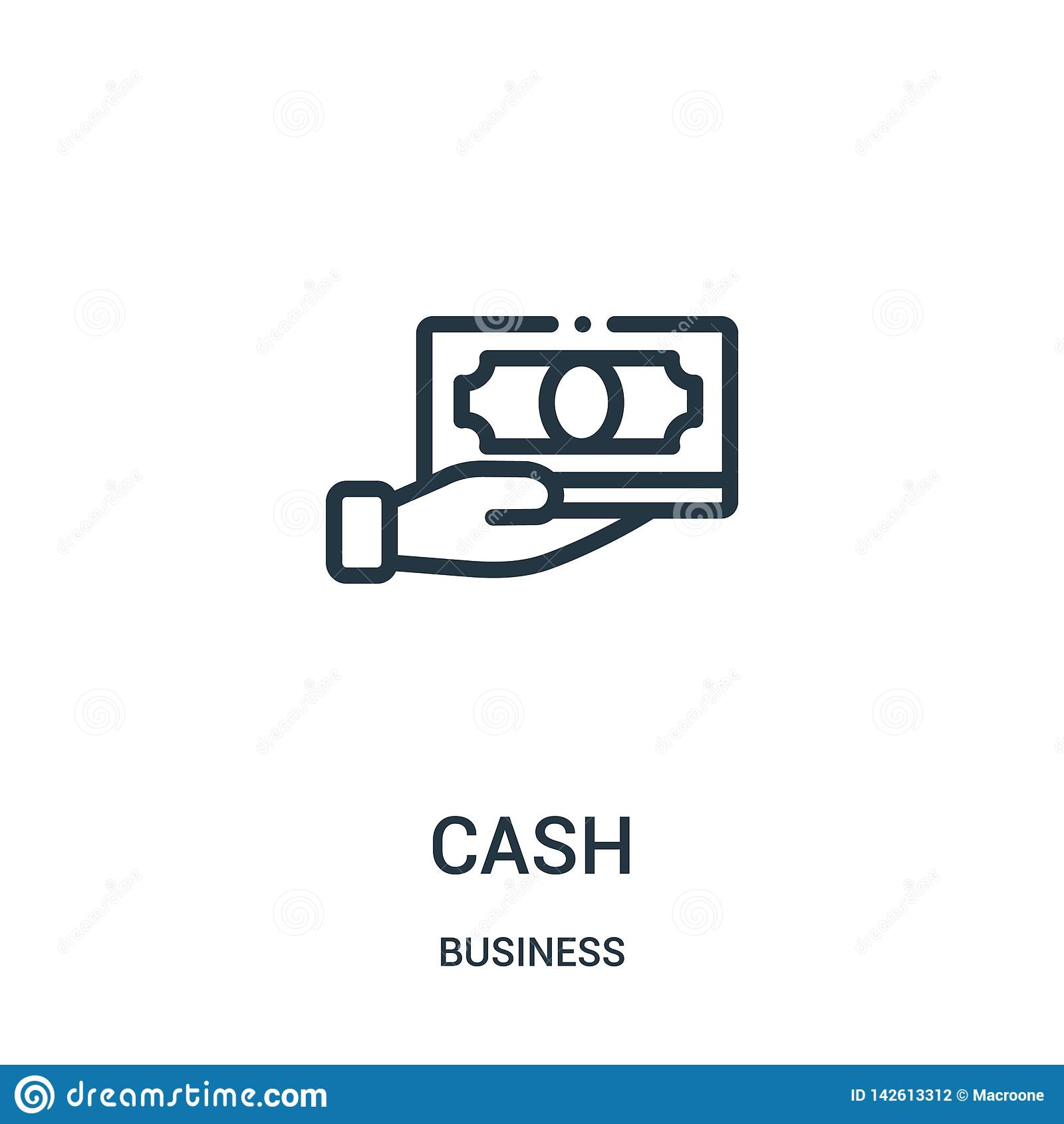 cash icon vector from business collection. Thin line cash outline icon vector illustration. Linear symbol