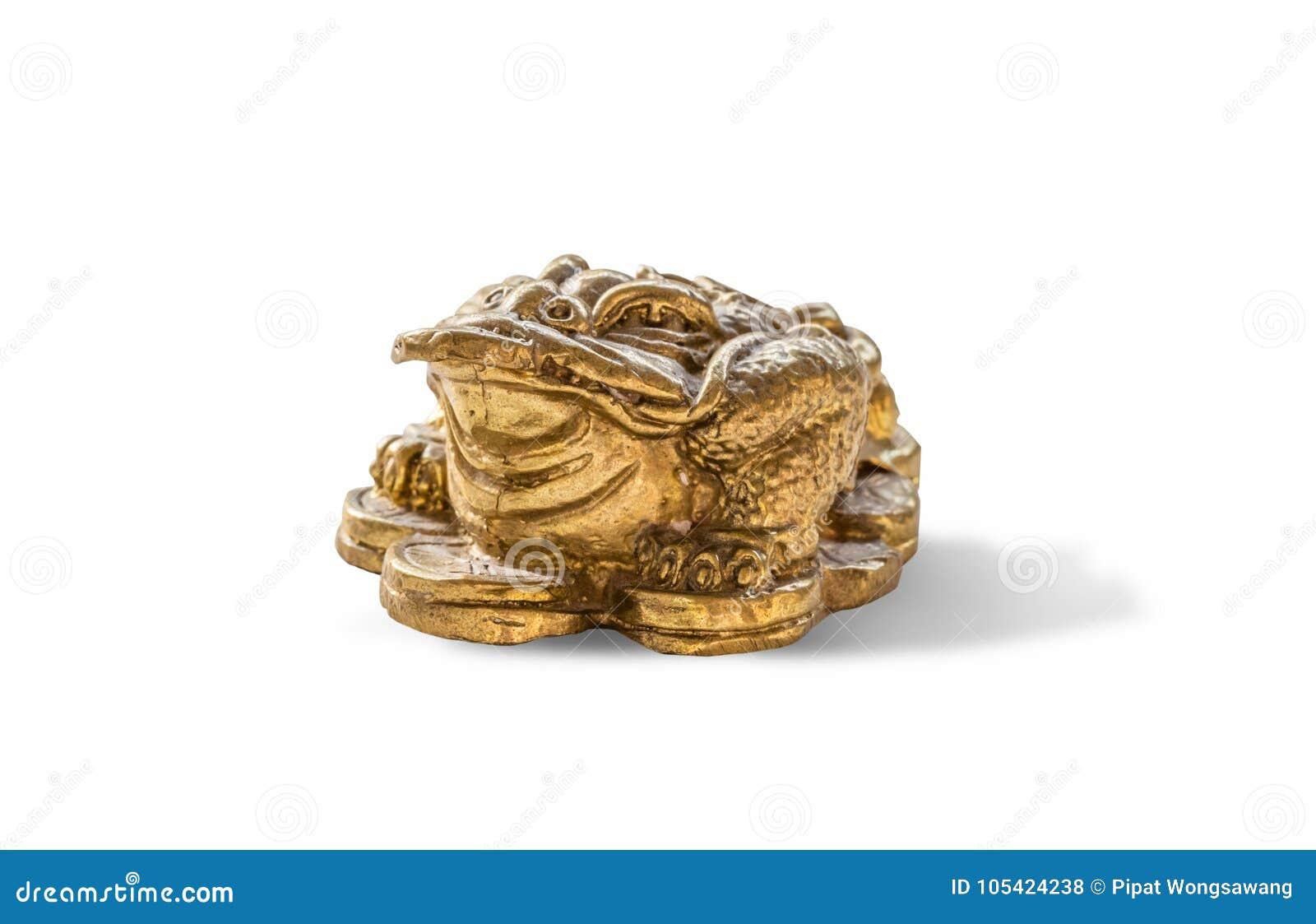 Cash mascot - Chan Chu - a gold frog figurine sitting on coins
